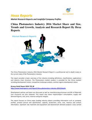 China Photometers Market Size, Company Share, Capacity Forecasts 2016: Hexa Reports