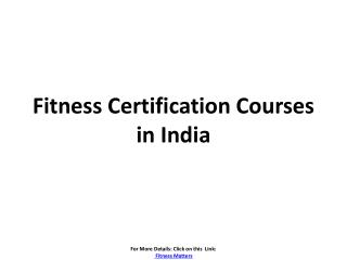 Fitness certification courses in india