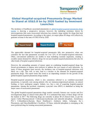 Global Hospital-acquired Pneumonia Drugs Market to Stand at US$3.8 bn by 2020 fueled by Imminent Launches