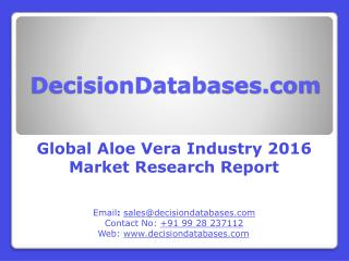 Aloe Vera Market Analysis 2016 Development Trends