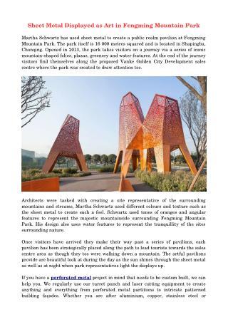 Sheet Metal Displayed as Art in Fengming Mountain Park