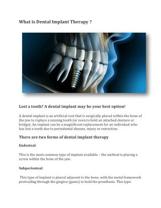 What is Dental Implant Therapy ?