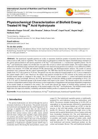 Physicochemical Characterization of Biofield Energy Treated Hi Veg TM Acid Hydrolysate