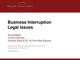 Business Interruption  Legal Issues