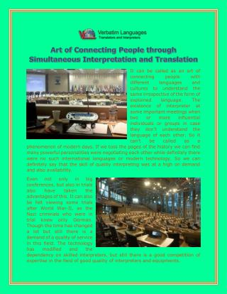 Art of Connecting People through Simultaneous Interpretation and Translation