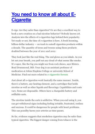 You need to know all about E-Cigarette