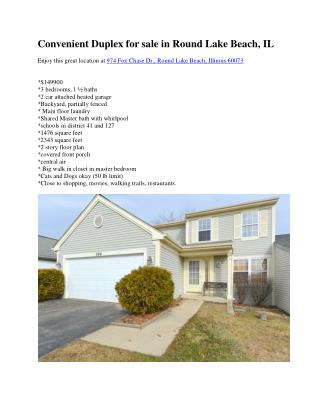 Convenient Duplex for sale in Round Lake Beach, IL