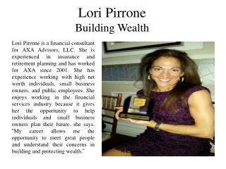 Lori Pirrone Building Wealth