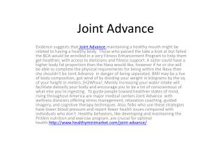 Evidence suggests that Joint Advance maintaining a healthy mouth
