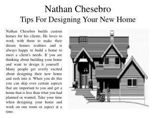 Nathan Chesebro Tips For Designing Your New Home