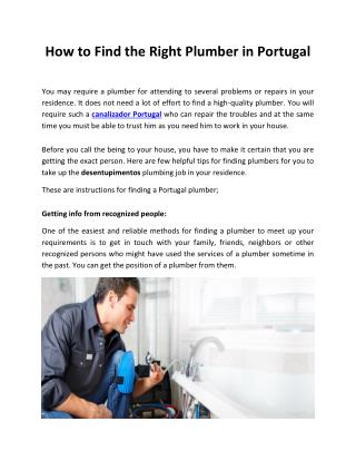 How to Find the Right Plumber in Portugal