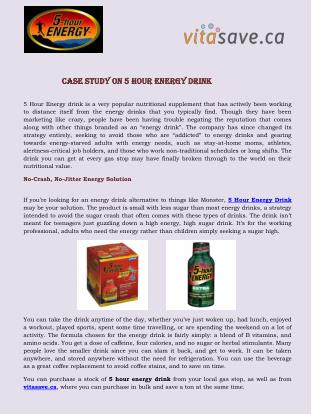Case Study on 5 Hour Energy Drink