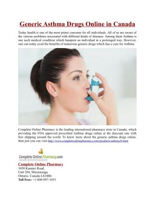 Generic Asthma Drugs Online in Canada