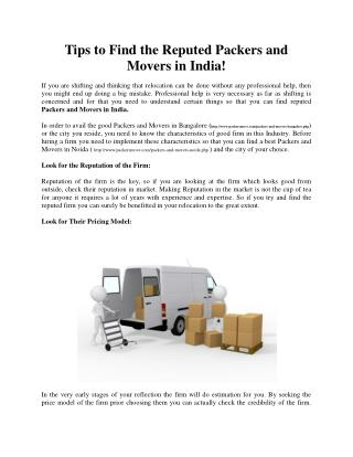 Tips to Find the Reputed Packers and Movers in India!