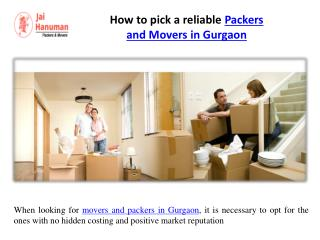 How to pick a reliable Packers and Movers in Gurgaon