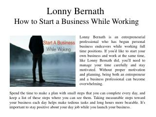 Lonny Bernath How to Start a Business While Working