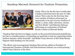 Sandeep Marwah Honored for Fashion Promotion