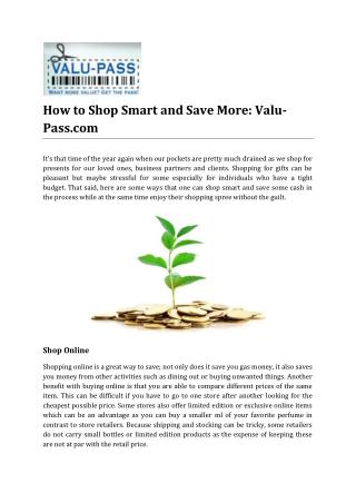 How to Shop Smart and Save More by Valu-Pass.com