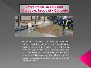 Environment Friendly and Affordable: Ready Mix Concrete