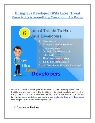 Hiring Java Developers With Latest Trend Knowledge is Something You Should be Doing