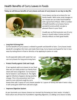 Health Benefits of Curry Leaves in Foods