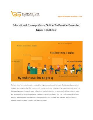 Educational Surveys Gone Online To Provide Ease And Quick Feedback!