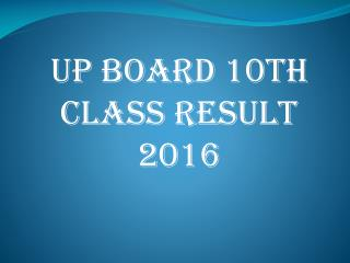 UP Board 10th Class Result 2016