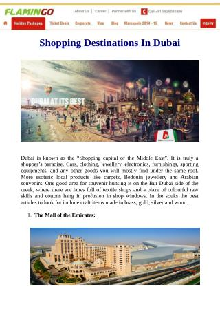 Know Shopping Destinations In Dubai With Your Dubai packages