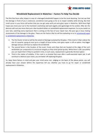 Windshield Replacement In Waterloo – Factors To Help You Decide