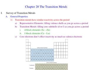 Chapter 20 The Transition Metals
