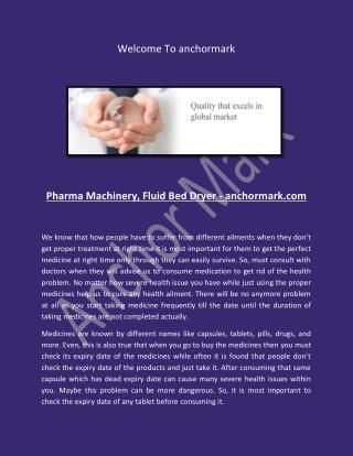 Pharma Machinery, Fluid Bed Dryer - anchormark.com