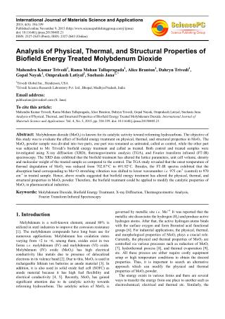 Analysis of Physical, Thermal, and Structural Properties of Biofield Energy Treated Molybdenum Dioxide