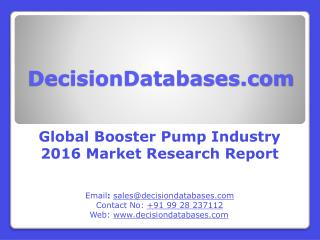 Global Booster Pump Industry- Size, Share and Market Forecasts 2021