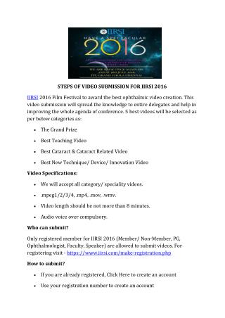 Steps of video submission for iirsi 2016