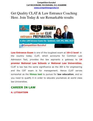 CLAT & Law Entrance Coaching Starts in Janakpuri, Uttam Nagarm New Delhi