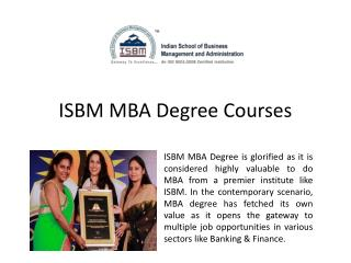 MBA Degree from ISBM Mumbai