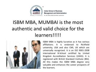 ISBM MBA Degree Mumbai