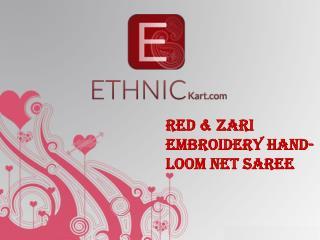 Red & Zari Embroidery Hand-loom Net Saree