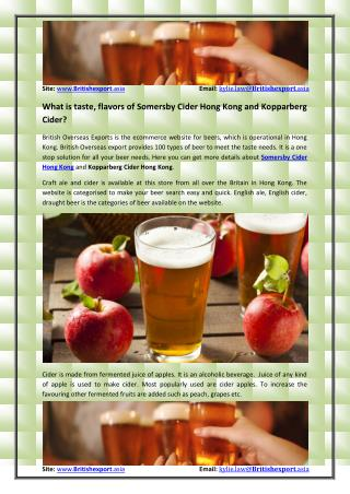 What is taste, flavors of Somersby Cider Hong Kong and Kopparberg Cider?