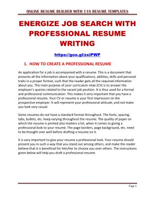 Energize Job Search With Professional Resume Writing