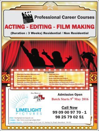 Acting - Editing - Film Making Professional Careers Courses in Ahmedabad