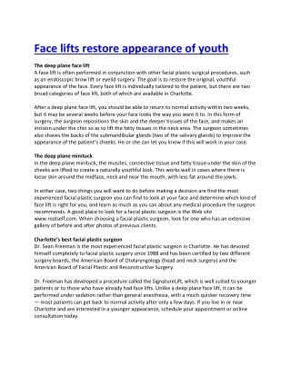 Face lifts restore appearance of youth