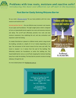 Root Barrier Easily Solving Rhizome Barrier