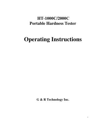 HT-1000C and 2000C Portable Leeb Hardness Tester Operating Instructions