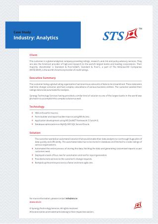 Case Study - Workflow Automation Process For A Global Analytical Company
