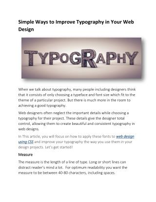 Simple Ways to Improve Typography in Your Web Design