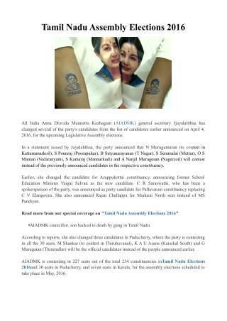 Tamil Nadu Assembly Elections 2016