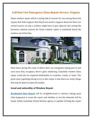Call Now! Get Emergency Glass Repair Service, Virginia