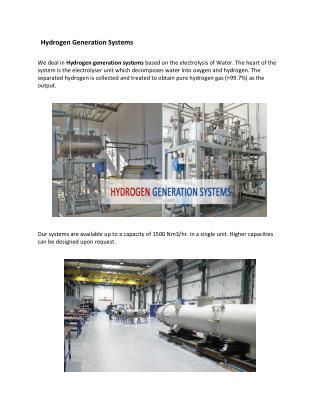 Hydrogen Generation Systems