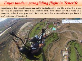 Enjoy tandem paragliding flight in Tenerife